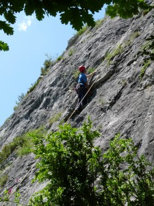 Tom on the first overhang of Les Herbes Ameres 5+