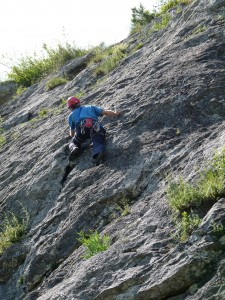 Tom on the tricky bulge of Le Nauc 6a