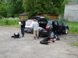 Packing up in the car park below Roche Ronde