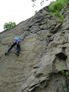 Tom at the Crux moves of Dure Limite