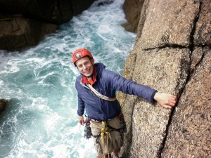 Me posing at the belay in Castle Boot Zawn