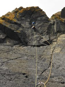 Dave starting the traverse on White Russians